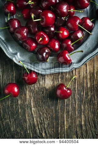 Sweet Cherry On Vintage Plate.