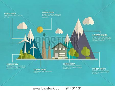 Global ecology and environment infographic template layout on sky blue background.