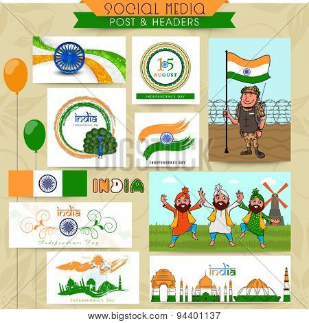 Beautiful social media post, header or banner set for Indian Independence Day celebration.