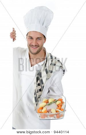 Young Attractive Chef Caucasian Male , Tenderloin Piece