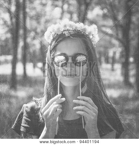 Smiling Woman With Dandelions, Monochrome