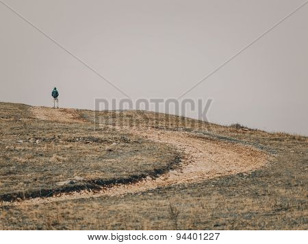 Hiker Young Man Walking Outdoor