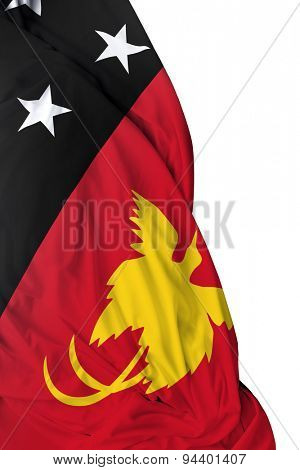 Papua New Guinea waving flag on white background