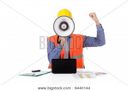 Megaphone Face, Young Caucasian Man Architect