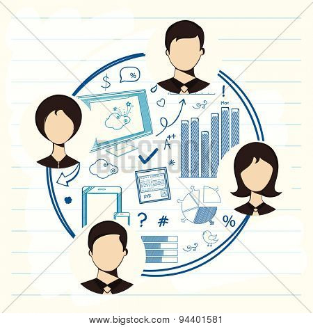 Set of different infographic elements in a circle with business people for professional presentation.