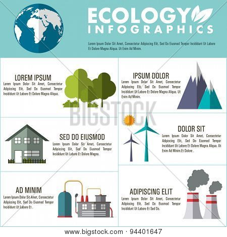 Set of various ecological infographic elements for save ecology concept.
