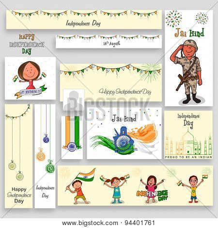 Social media post, header or banner set with kids, soldier and other elements for Indian Independence Day celebration.