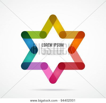 Jewish sign  colorful star of magen david