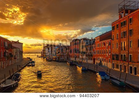 Sunset on canal Cannaregio in Venice, Italy