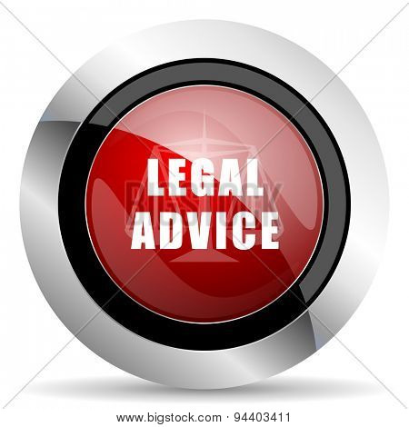 legal advice red glossy web icon original modern metallic and chrome design for web and mobile app on white background