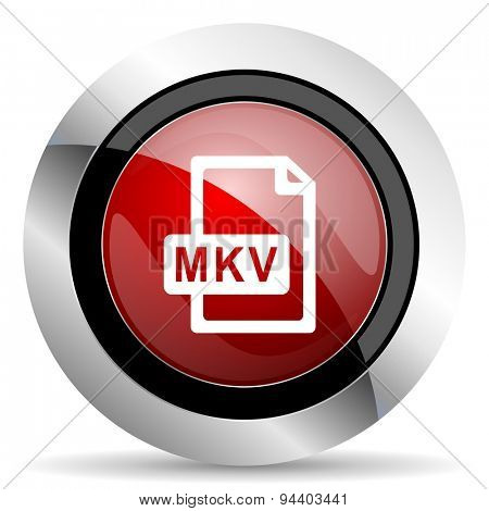 mkv file red glossy web icon  original modern metallic and chrome design for web and mobile app on white background