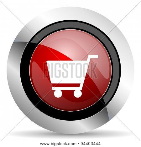 cart red glossy web icon original modern metallic and chrome design for web and mobile app on white background