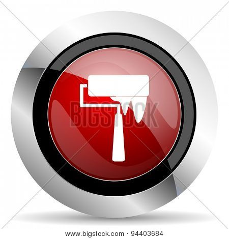 brush red glossy web icon original modern metallic and chrome design for web and mobile app on white background