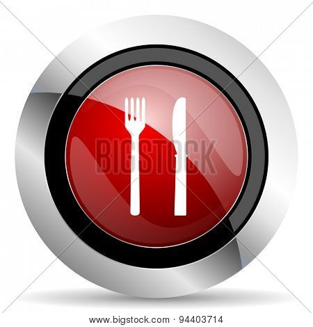 eat red glossy web icon original modern metallic and chrome design for web and mobile app on white background