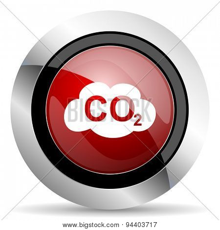 carbon dioxide red glossy web icon original modern metallic and chrome design for web and mobile app on white background