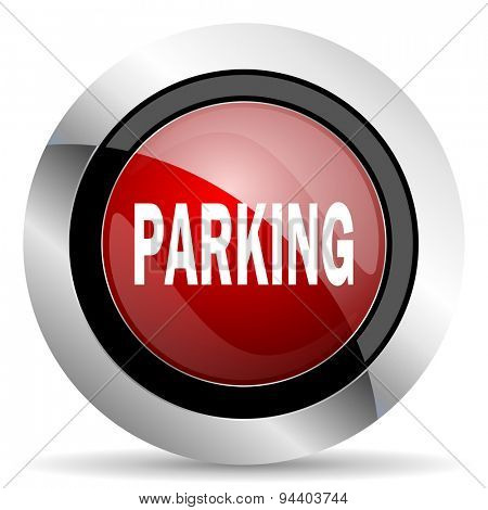 parking red glossy web icon original modern metallic and chrome design for web and mobile app on white background