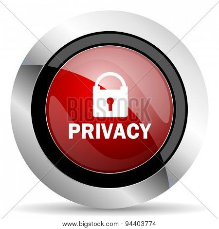 privacy red glossy web icon original modern metallic and chrome design for web and mobile app on white background