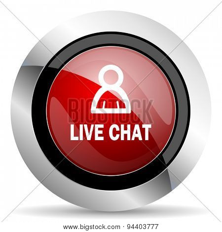 live chat red glossy web icon original modern metallic and chrome design for web and mobile app on white background