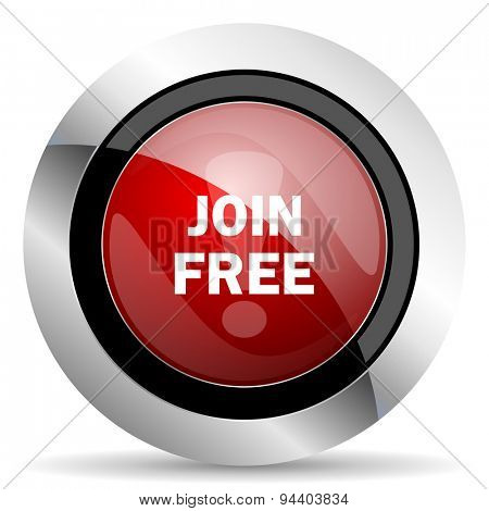 join free red glossy web icon original modern metallic and chrome design for web and mobile app on white background