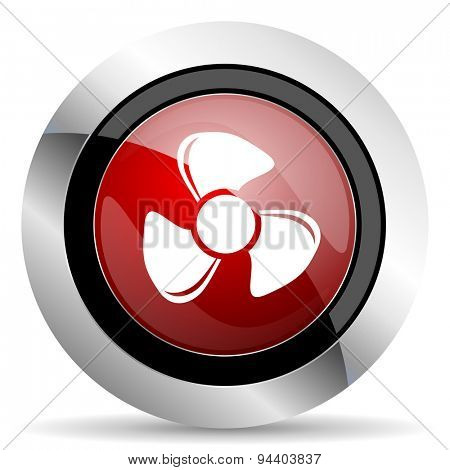 fan red glossy web icon original modern metallic and chrome design for web and mobile app on white background