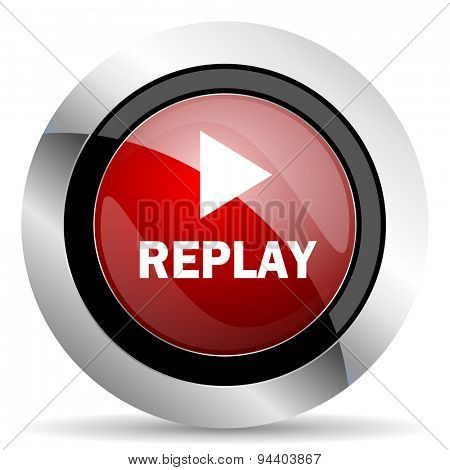 replay red glossy web icon original modern metallic and chrome design for web and mobile app on white background