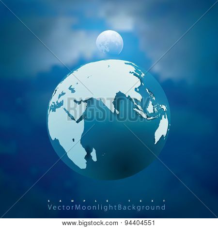abstract vector illustration with Earth and Moon