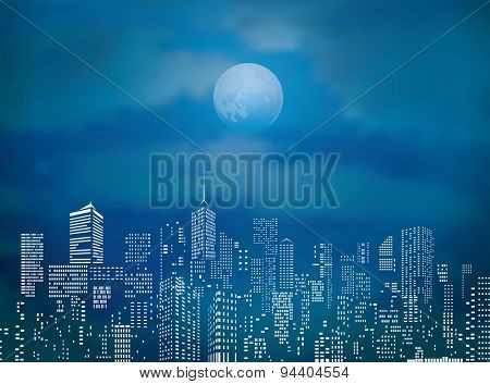 vector city skylines with full moon and clouds