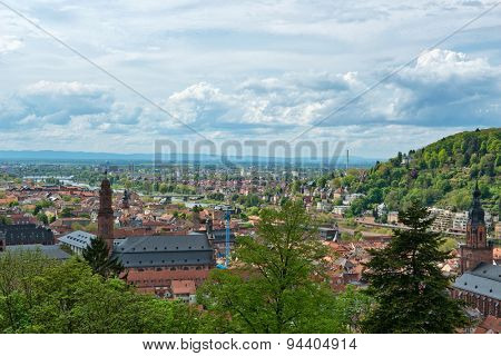 Overview from Castle of Old and New Town Neighborhoods of Heidelberg Surrounded by Lush Green Trees, Baden-Wurttemberg, Germany