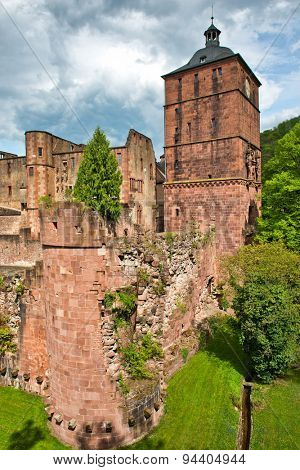 Tower and Crumbling Ruins of Heidelberg Castle, a Popular Tourist Destination, Situated in Lush Green Gardens, Baden-Wurttemberg, Germany