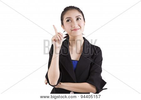 Business Woman Pointing Up Isolated On White