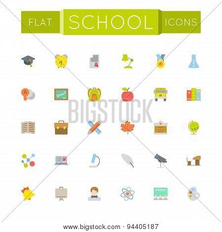 Vector Flat School Icons