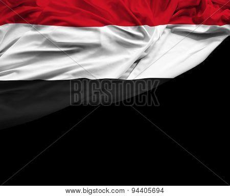 Yemen waving flag on black background
