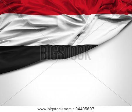 Yemen waving flag on white background