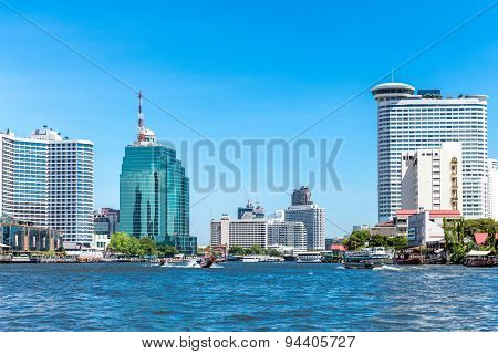Buildings at Chao Phraya river in Bangkok, Thailand.