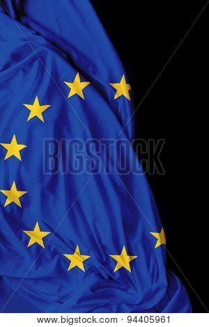 European waving flag on black background
