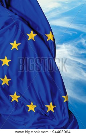 European waving flag on a beautiful day