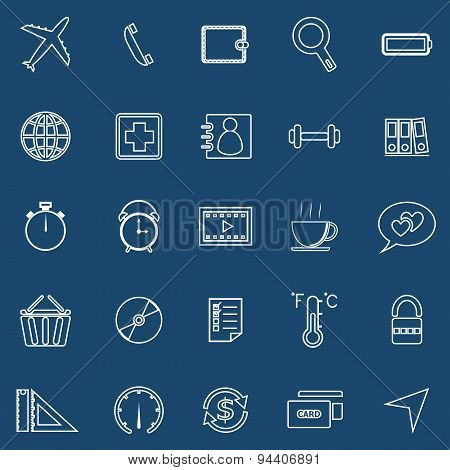 Application Line Icons On Blue Background. Set 2