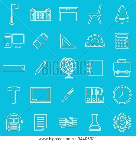School Line Icons On Blue Background