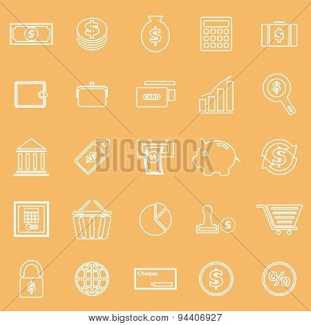 Money Line Icons On Brown Background