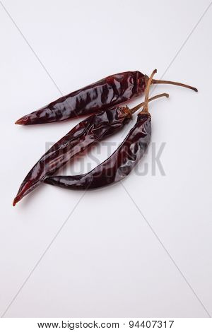 dried chili on the white background