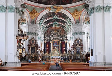 ST. GALLEN, SWITZERLAND - MAY 11: St. Gallen Cathedral Interior on MAY 11, 2012 in St. Gallen, Switzerland. Swiss landmark, listed on Unesco World Heritage List.