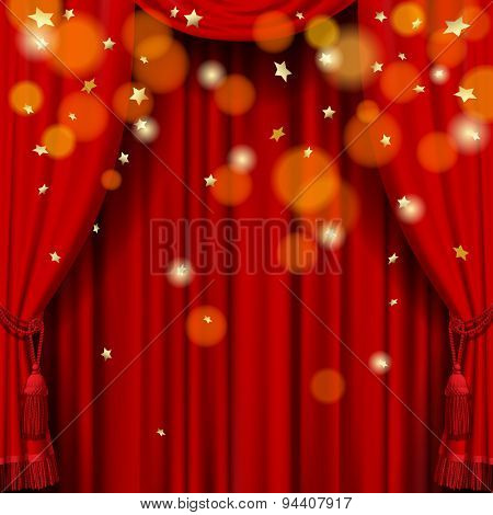 Red curtain background  with rain of stars