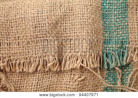 close up or texture of sack cloth