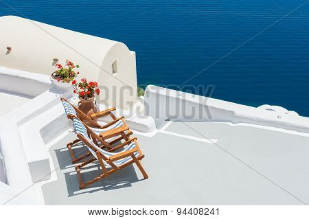 Sunbeds On The Terrace Of A Hotel