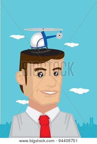 Cartoon Man With Helicopter Dream Vector Illustration