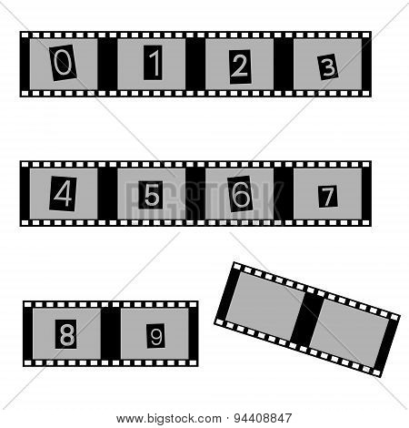 Grayscale Film And Movie With Numbers Symbols Eps10