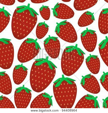 Colorful Red Strawberries Fruits Seamless Pattern Eps10