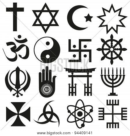 World Religions Symbols Vector Set Of Icons  Eps10