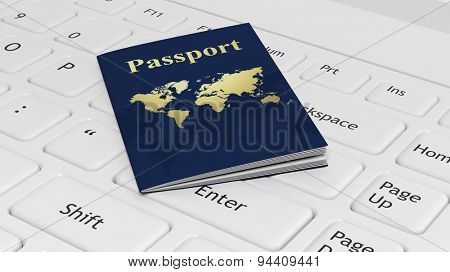 Passport on white laptop keyboard