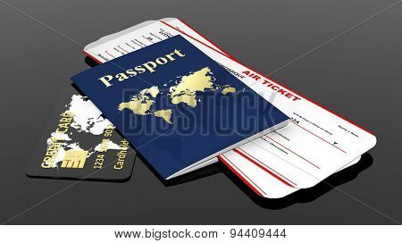 Passport, credit card and two air tickets isolated on black background